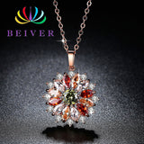 Beiver Multi-color Zircon Rose Gold Color Flower Necklace for Women 2019 New Fashion Wedding Jewelry