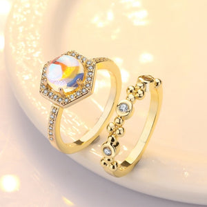 Top Quality moonstone Ring set Gold Rose Gold color Austrian Crystals Finger Ring For Women Engagement wedding jewelry Wholesale