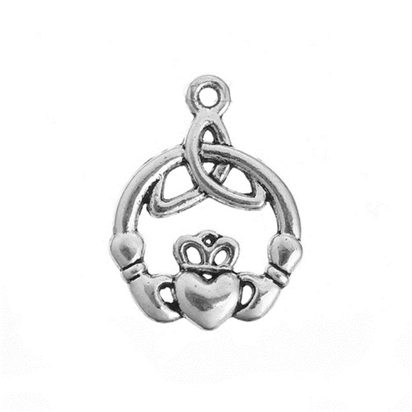 DoreenBeads Zinc Based Alloy Pendant Charms Celtic Knot Antique Silver Crown Jewelry DIY Findings 24mm(1