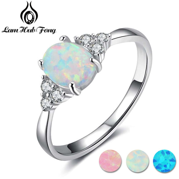 100% 925 Sterling Silver Oval White Opal Stone Rings with Cubic Zirconia for Women Anniversary Romantic Mom Gift (Lam Hub Fong)