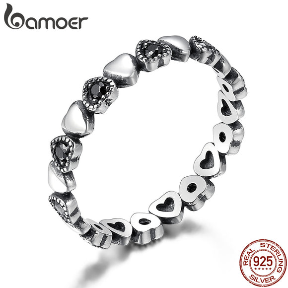 BAMOER Genuine 925 Sterling Silver Stackable Ring Heart Black CZ Finger Rings for Women Wedding Anniversary Jewelry Anel SCR140 - The Rogue's Clothes