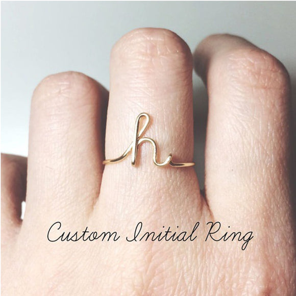Dainty Initial Ring A to Z Letter Midi Personalized Rings for Women Men Jewelry Rose Gold Stacking Custom Initials Ring Gift