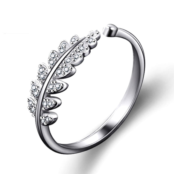 Fashion 1PC Silver Color Adjustable Open Finger Ring Resizable Leaf Flower Ring Wedding Rings for Women Girls Jewelry Gifts