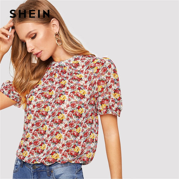 SHEIN Bohemian Multicolor Mock Neck Short Puff Sleeve Floral Chiffon Blouse Women Elegant Top Summer Vacation Workwear Blouses