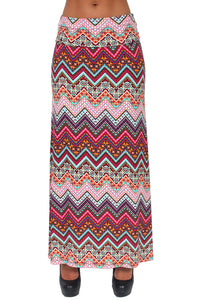 Gorgeous Women's ZigZag Printed Full Length MAXI SKIRT: Fuchsia (LARGE)