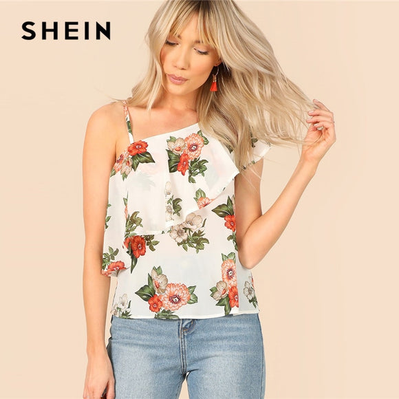 SHEIN White Ruffle Detail Asymmetrical Shoulder Floral Top Elegant 2019 Summer Women Streetwear Casual Bohemian Vacation Blouses