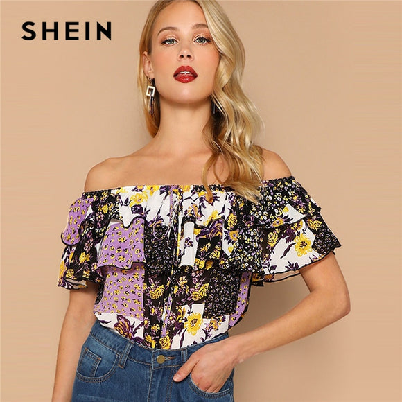 1ac588ae5c SHEIN Multicolor Off Shoulder Layered Foldover Colorblock Floral Blouse  Vacation Ruffle Drawstring Women 2019 Summer Beach