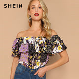 SHEIN Multicolor Off Shoulder Layered Foldover Colorblock Floral Blouse Vacation Ruffle Drawstring Women 2019 Summer Beach Tops