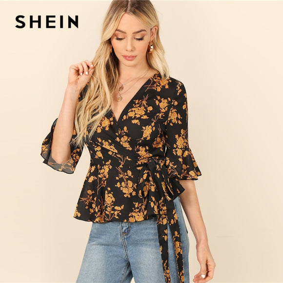 SHEIN Bohemian Multicolor Flounce Half Sleeve Surplice Peplum Floral Print Belted Blouse Women Summer Elegant Tops and Blouses