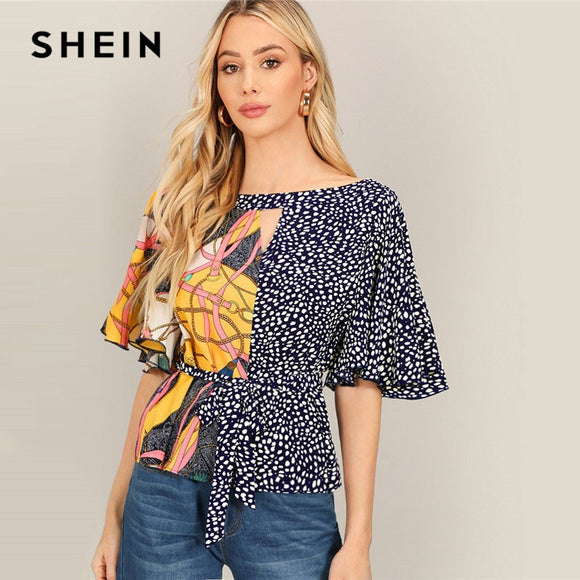 SHEIN Bohemian Boat Neck Flutter Sleeve Chain And Dot Print Belted Blouse Women Summer Casual Half Sleeve Tops and Blouses