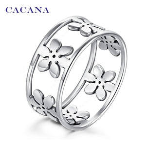 CACANA Stainless Steel Rings For Women Five Petals Fashion Jewelry Wholesale NO.R166 - The Rogue's Clothes