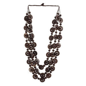 (23.6 inch )Bohemian Coconut shell Wood Bead Pendant Necklaces Women Ethnic Jewelry Handmade Beaded Hanging Necklace Statement