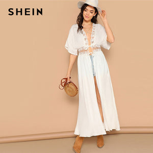 SHEIN Casual Drop Shoulder Knot Lace Insert White Kimono 2019 Spring Half Sleeve Sheer Bohemian Vacation Beach Long Kimono