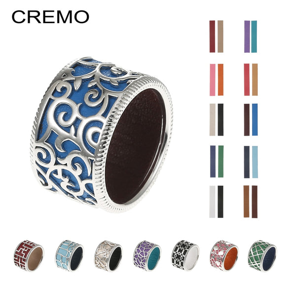 Cremo Hollow Band Rings Bijoux Femme Personalized Finger Cuff Ring Argent Reversible Interchangeable Leather Cage Ring Spinner