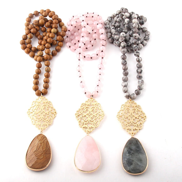Fashion Bohemian Jewelry Semi Precious Stones Long Knotted Metall Grid Link Drop Pendant Necklaces Pendant Necklaces