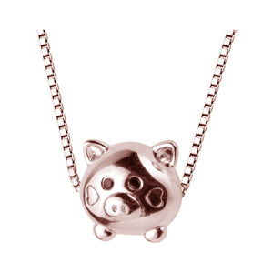 Charm Necklace for Women Choker Necklace with Mini Pig Pendant Necklace Delicate Cable Chain Necklace