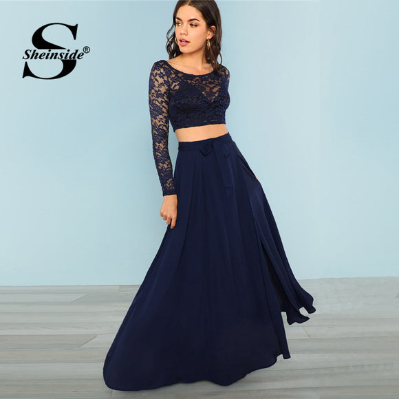 Sheinside Blue Elegant Contrast Lace Top And Belted Skirt Set Women 2019 Spring Casual Side Split Maxi Skirt Solid 2 Piece Set
