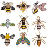 Rinhoo Fashion Charm Honeybee Crystal Pearl Enamel Insect Bee Brooch Pin Costume Jewelry Brooches Pins For Women Girls