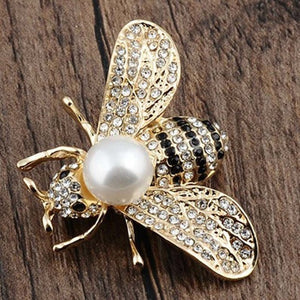 Luxury Crystal Imitation Pearl Honey Bee Animal Collar Pins And Brooches For Women Lapel Broches Jewelry Valentine's Day