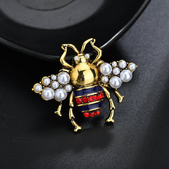 Insect Bee Brooch Pearl Stereo Beetle Brooch Pin Enamel Pins Broches Women Kids Jewelry Brooches Gifts for Men Pearl Jewelry