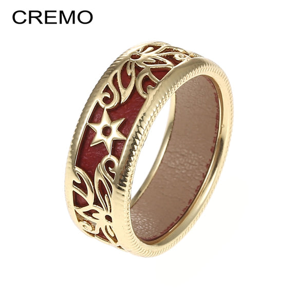 Cremo 2019 New Fashion Flower Rings For Women Bijoux Hollow Rings Bague Cuir Interchangeable Female rings