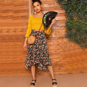 SHEIN Boho Floral Print Waist Knot Asymmetrical Hem Midi Skirt Women Summer Casual Beach Vacation Shift Mid Waist Skirts