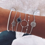 IPARAM Bohemian Handmade Weave Heart Long Tassel Bracelet Sets Women 2019 New Grey Rope Chain Bracelets Jewelry Christmas Gift