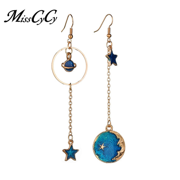 MissCyCy 2018 New Creative Blue Universe Asymmetric Earrings for Women Cute Moon Star Drop Earrings Fashion Tassel Brincos