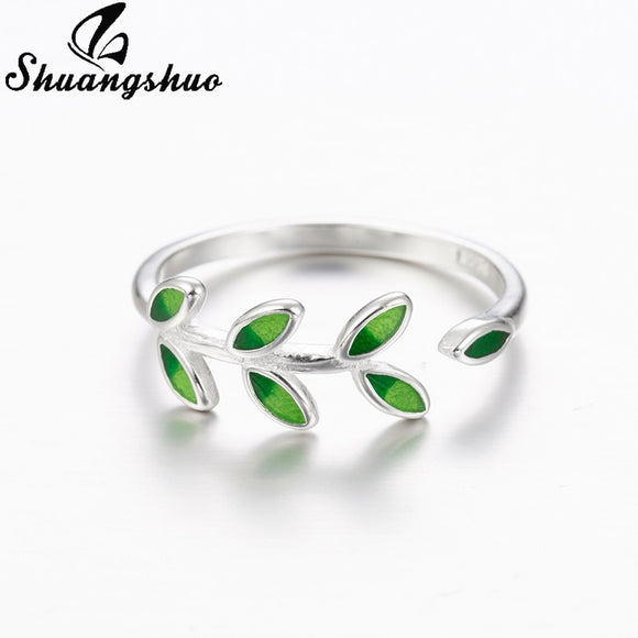 Shuangshuo New Fashion Woman Jewelry Open Design Green Leaves Leaf Ring Personality Female Flower Rings Wedding Rings for Women