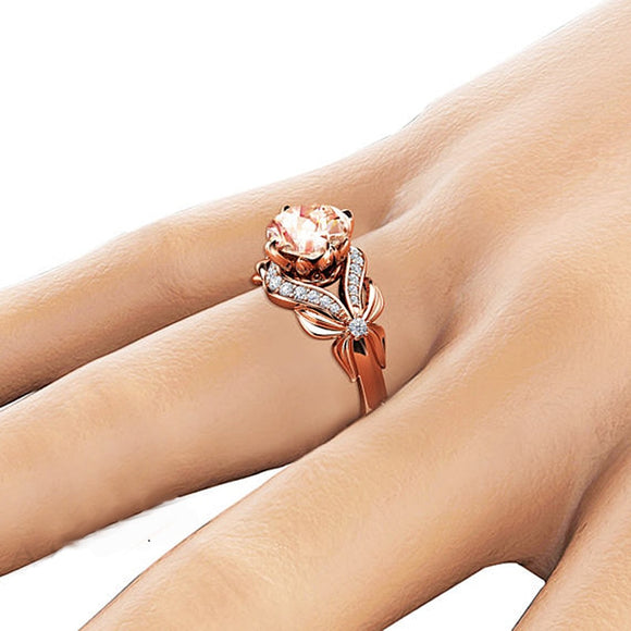 Vintage Bow Diamond Ring 18K Rose Gold Zircon Ring Party Gemstone Wedding Ring for Women Amethyst Jewelry anillos de Bizuterias