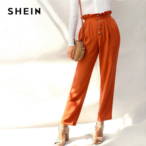 SHEIN Rust Paperbag Waist Single Breasted Pleated Pants Long Trousers Women Spring Office Lady Elegant Workwear Tapered Pants