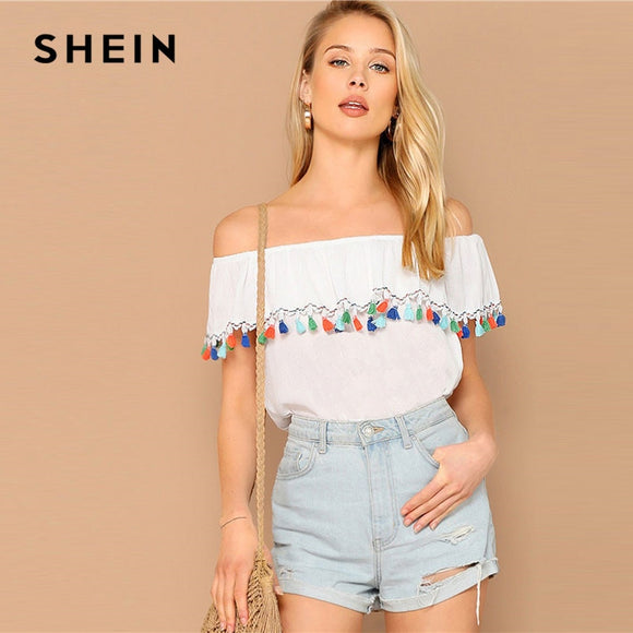 SHEIN Lady White Ruffle Detail Off the Shoulder Boho Tassel Bardot Top Women Casual Summer Beach Vacation Solid Top Blouses