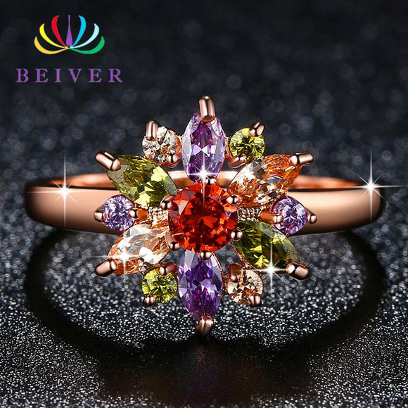 Beiver Multi-color Zircon Stone Flower Ring for Women Rose Gold Color Engagement / Party Jewelry - The Rogue's Clothes