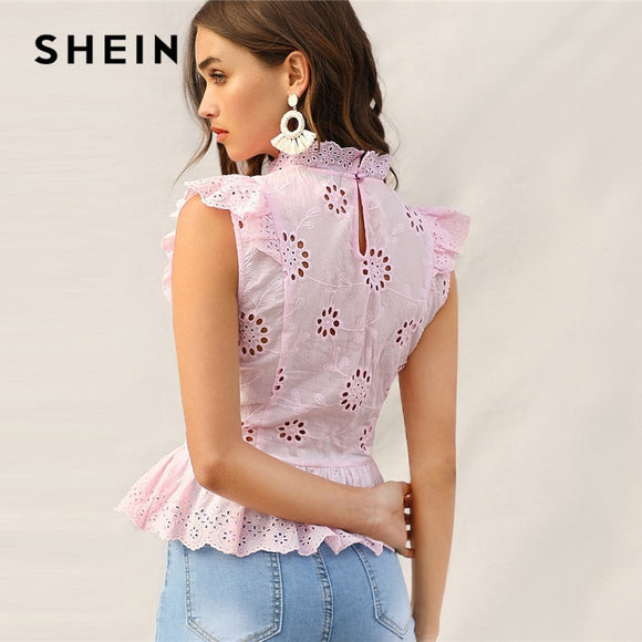 SHEIN Pink Ruffle Trim Lace Eyelet Embroidered Peplum Top Sleeveless Blouse Women Summer Stand Collar Slim Fitted Boho Blouses