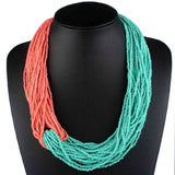 Claire Jin Two-tone Small Beads Bohemian Necklace Handmade Ethnic Jewelry for Women Contrast Color Multi Layer Vintage Fashion