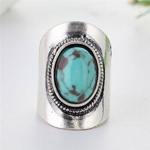 2019 Hot Sale Bohemia Blue Stone Knuckle Rings For Women Retro Antique Silver Color Turquoises Finger Ring Bague Femme L3X729 - The Rogue's Clothes