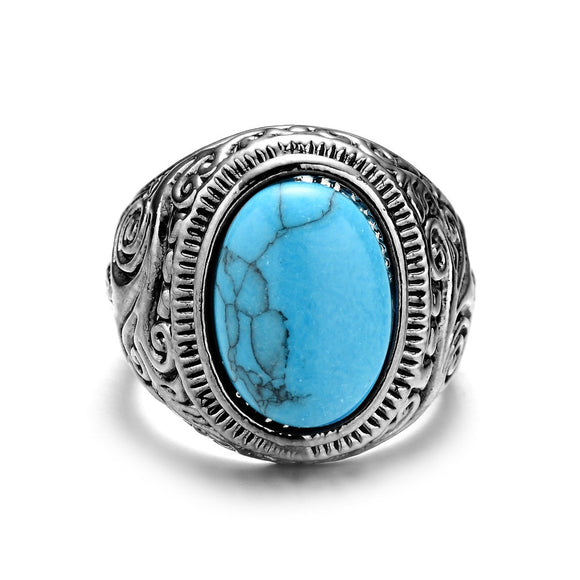 ZMZY Antique-Silver Plating Vintage Stone Ring Fashion Jewelry Turquoises Finger Rings For Women Men Wedding Party Jewelry Gift