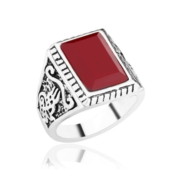 New Thai Silver Ring for Women Retro Totem Classic Red Turquoises Rings Party Anniversary Ring Gift