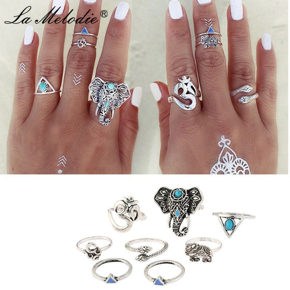 New 8pcs/set Retro Silver Alloy Turquoises Elephant Snake Triangles Geometric Ring Set Midi Knuckle Ring Set For Women Jewelry
