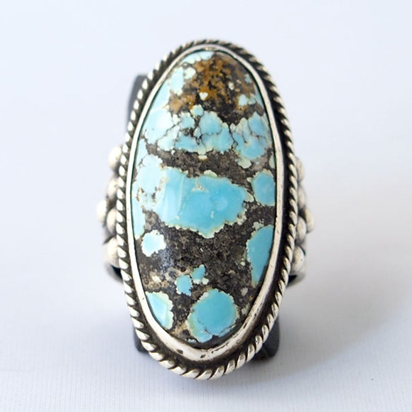 ZHIXUN Vintage Jewelry Blue Turquoises Finger Ring For Women Wedding Anniversary Rings For Women Wedding Engagement Ring B5Q740