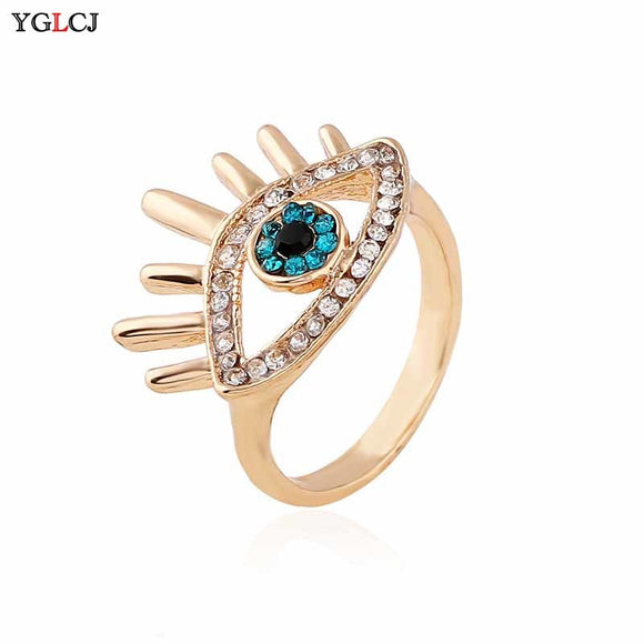 Elegant Blue Evil Eye Cubic Zirconia Ring Female Girl Jewelry Gold Zircon Ring Bague Jewelry