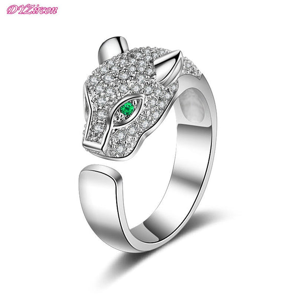 DYR0035 Fashion Jewelry lion Rose Gold&Silver Plated Green Color Crystal Women's Rings Anniversary Party Female adjustable Ring