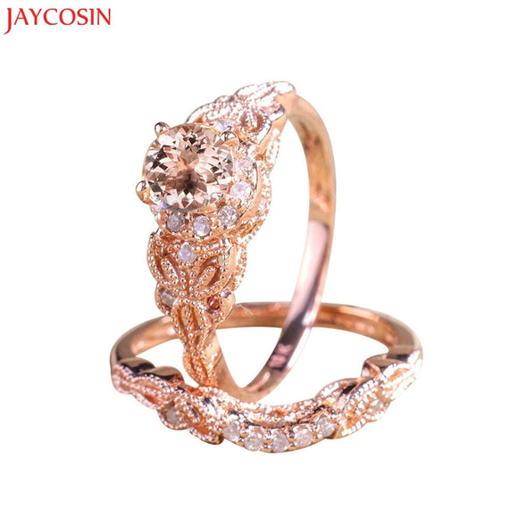 Women 1Pair Ring/Set Rose Gold Filled Wedding Engagement Ring Gift Band Engagement Rings Silver Ring Rose Gold z1222