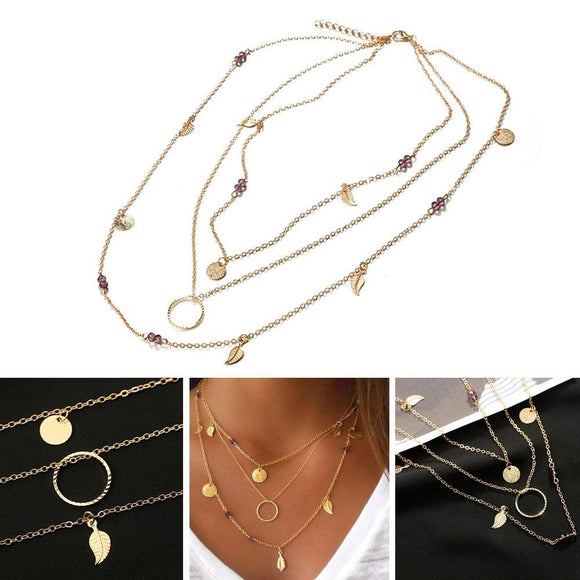 Bohemian Leaf Crystal Necklace Multilayer Long Necklace Women Pendant Necklace - The Rogue's Clothes