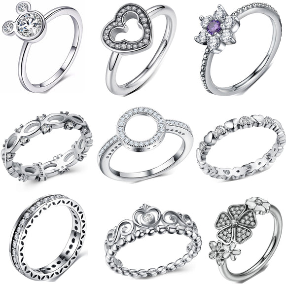 Fashion Crystal Silver Color Ring For Women Flower Love Heart Crown Finger Rings Cocktail Part Pandora Ring Jewelry Dropshipping