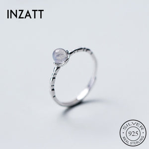 INZATT Silver Minimalist Moonstone Vintage Adjustable Ring For Charming Women Party 2019 Fashion Jewelry Gift