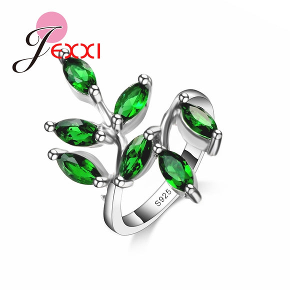 JEXXI Big Promotion Pretty Gifts Silver Elegant Rings for Women With Green Leaves CZ   Engagement Ring Jewelry Item