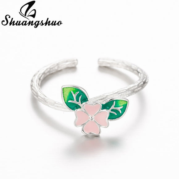 Shuangshuo Korean Delicate Green Leaf Flower Rings for Women Ladies Girls Leaves Rings Open Adjustable Ring Silver Finger Rings
