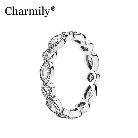 Charmily Jewelry Genuine 100% 925 Sterling Silver Alluring Brilliant Marquise with Clear CZ Ring Circle and Oval Women Rings