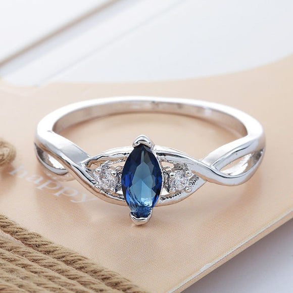 Simple Wild Sea Blue Stone Ring Horse Eye Shape For Woman Jewelary Wedding Engagement Gifts